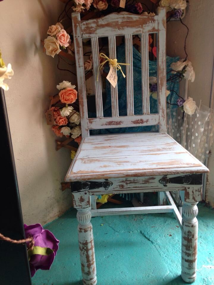 Heavily distressed Chair hand painted with Everlong Grecian Blue