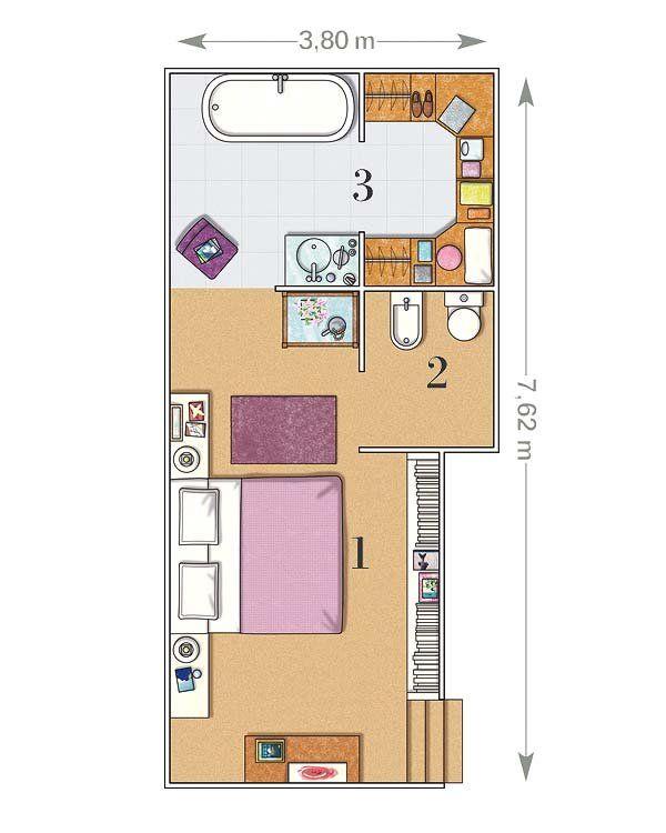 Un dormitorio de 23 m² con baño y vestidor