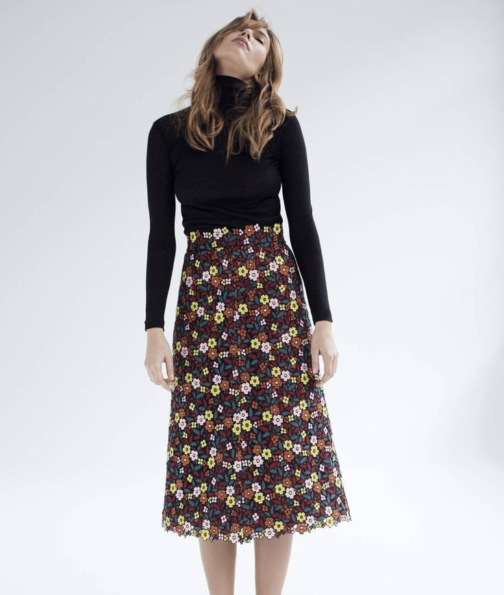 Franca - Gorgeous embroidered floral fabric, turned into a trendy A-line midi skirt