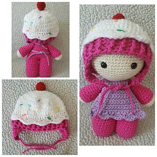Cupcake Hat and Doll Apron by Brooke Rabideau on Ravelry ~ these patterns are FREE - baby hat fits 0-3 mos. to 9-12 mos plus toddler and child sizes ~ pattern is for doll, apron, hat plus baby hat ~ FREE  CROCHET ~ so adorable!