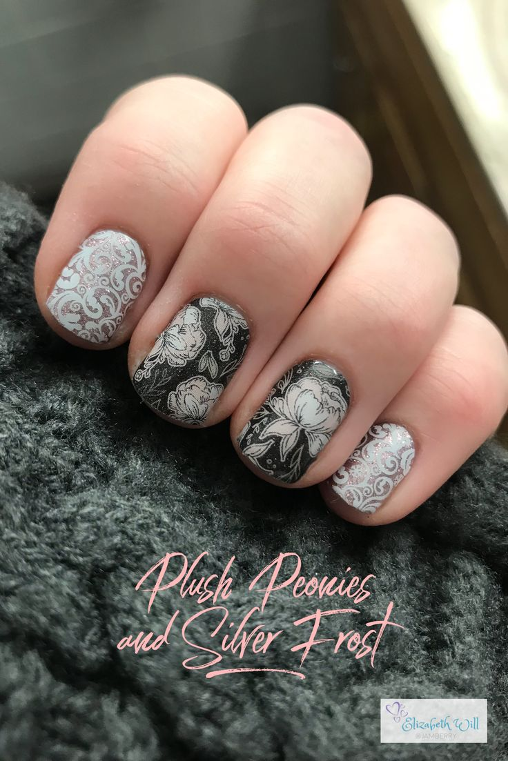 Jamberry nail wraps, Plush Peonies and Silver Frost, make a perfect pair!