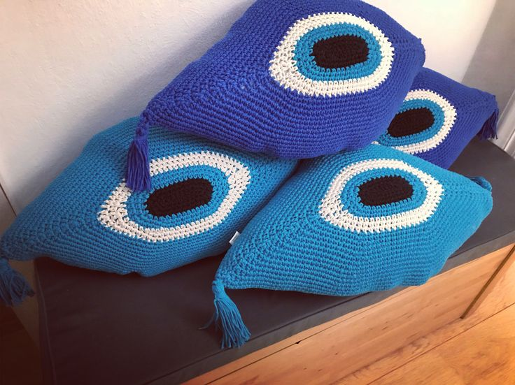new colours! crochet evil eye cushioms by cotton prince! home decoration evil eyes