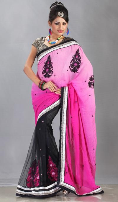 G3 Fashions Black and Shaded Pink Georgette Net Embroidered Partywear Saree  Product Code : G3-LS11813 Price : INR RS 3976