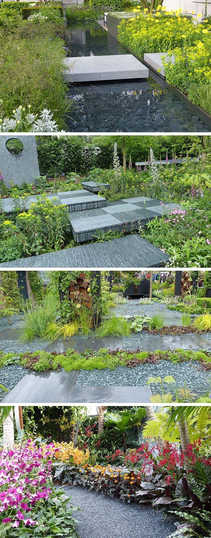 garden design from the chelsea flower show using slate
