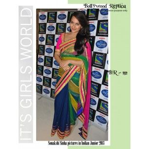#Designer Suit #Bollywood Replica Saree Shop now : http://www.valehri.com/green-and-blue-sonakshi-sinha-bollywood-saree-1576