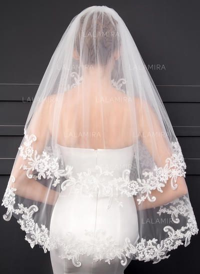 Wedding Veil White Ivory Soft Tulle Ladies Bridal Elbow Veils Lace Applique Edge