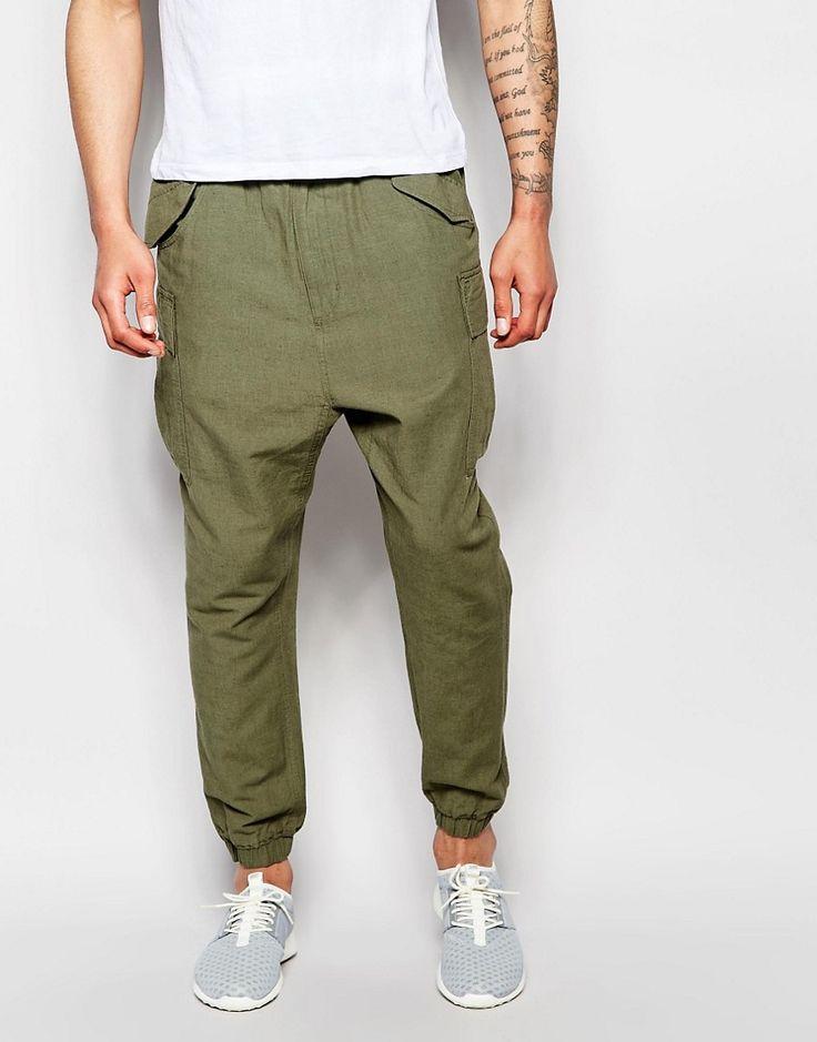 ASOS+Slim+Drop+Crotch+Joggers+In+Khaki+Textured+Fabric
