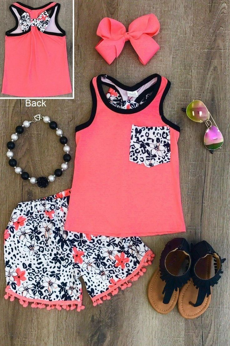 Coral Bloom Pom Pom Short Set