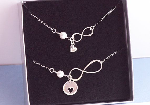 Mother Daughter Infinity Heart Necklace, Heart Cutout, Sterling Silver, Combo Set of 2 Love New Mom, Mothers Day, Mother of Bride on Etsy, $62.70