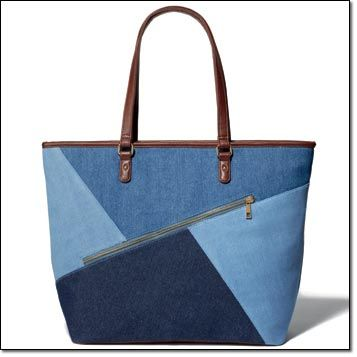 """Denim Patchwork Tote. Cool multi-denim tote. 14"""" H x 18 1/2"""" L x 7"""" D (handle drop, 9 1/2""""). Zip closure. With one outer zip, one inner zip and two inner slip pockets. Leatherlike handles, base and trim. Fully lined. Item#: 097-880 Price: $24.99"""