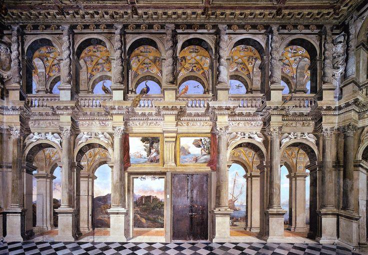 """Agostino Tassi (1580-1644): trompe-l'oeil frescoed decoration of the """"Sala dei Palafrenieri"""", 1619-1621, Palazzo Lancellotti, Rome, Italy."""