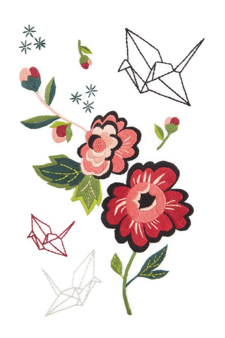 Hello Japan Peonía y grulla de otoño - diseño