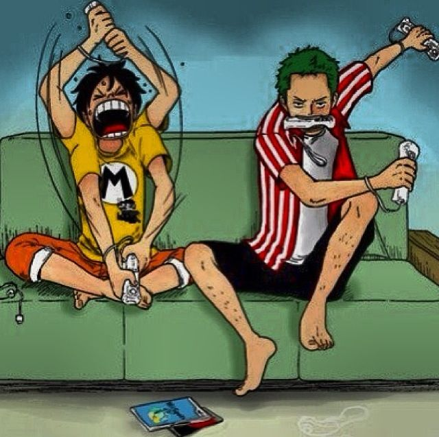 Luffy and Zoro from One Piece I think I already pinned a version of this pic, but this one has COLOR!!! :D