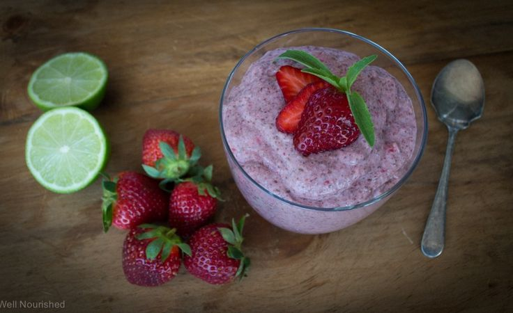 Strawberry Chia Pudding 400 grams (approx) of fresh strawberries, hulled 400ml can of coconut milk 85 grams (¼ cup) of brown rice syrup or maple syrup (or more or less to to taste) 1 teaspoon of vanilla powder 100 grams (½ cup) chia seeds 4-6 drops of doTERRA Lemon or Lime essential oil (see note below).  Taste after every couple of drops and check the balance of flavour.  You can substitute with zest, but if you have the opportunity try the oil.