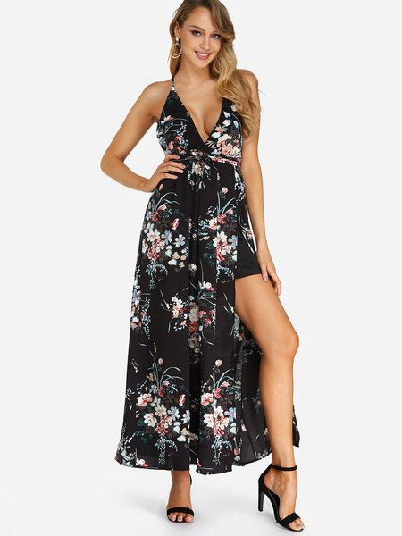 e0899bb9d469 Black Backless Design Random Floral Print V-neck Sleeveless Maxi Dress -  US 11.99 -YOINS