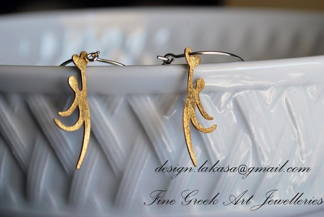 Silver 925 Earrings Loops Gold Plated Catching the Heart
