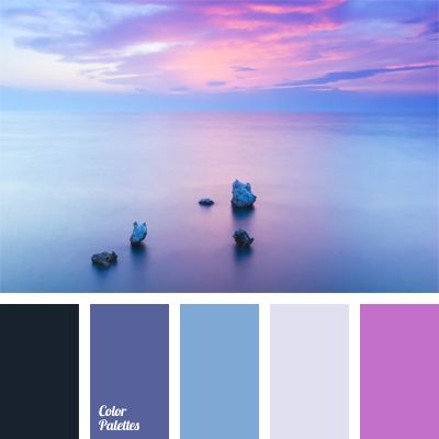Black in this palette shades lilac and pale blue – the colors of the sunset at the Cote d'Azur. Pale light blue dilutes the combination of rather bright hues, making up a delicate palette. Ideal for a room of a young romantic lady or her boudoir.