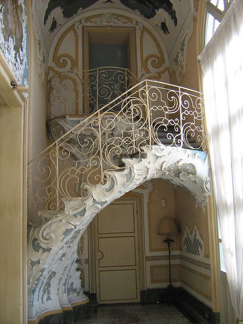 The staircase, which leads to the bandstand in the ballroom, Biscari Catania #catania #sicilia #sicily
