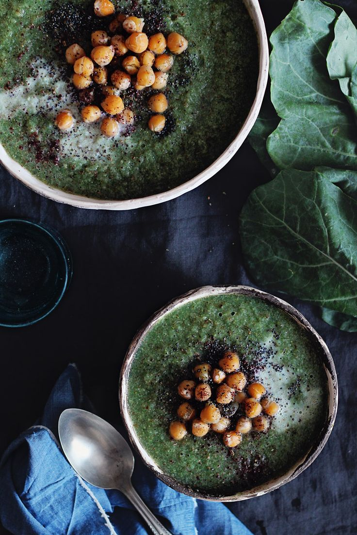 Broccoli and turnip green soup with roasted chickpeas http://www.theawesomegreen.com/broccoli-turnip-greens-and-coconut-cream-soup/
