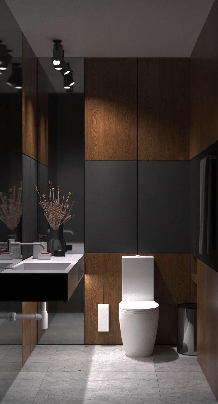 Carrelage Sol Salle De Bain Gris Anthracite décoration petite salle de bain contemporaine avec panneaux