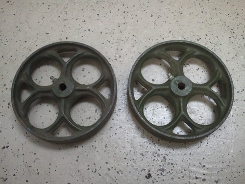 Set Of 2 Cast Iron Antique Industrial Old Cart Wheels