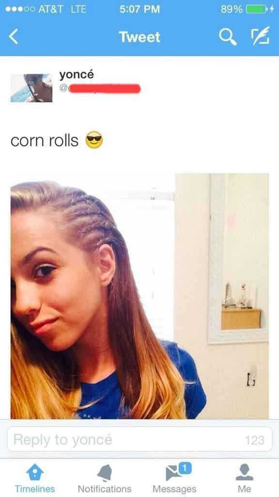 The proud owner of some fresh corn rolls: | 28 White People Who Need To Be Stopped Right Now