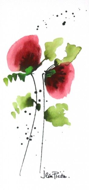 Jean Picton, Poppy Splash II, Original Watercolour | Contemporary Art
