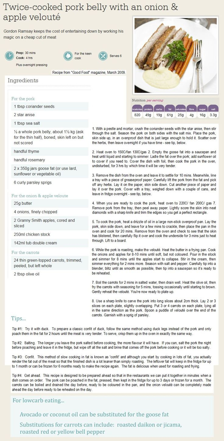 P3 Twicecooked Pork Belly With Onion And Apple Velout� By Gordon Ramsay   Lowcarb