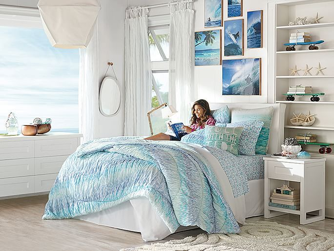 I love the PBteen Kelly Slater Aegean Ruched Bedroom on pbteen.com