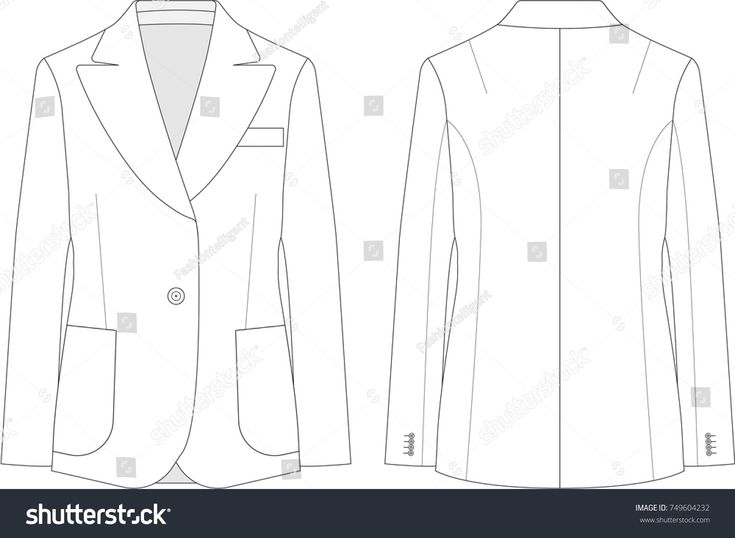 Technical Drawing of Woman's Blazer Jacket #fashionflats