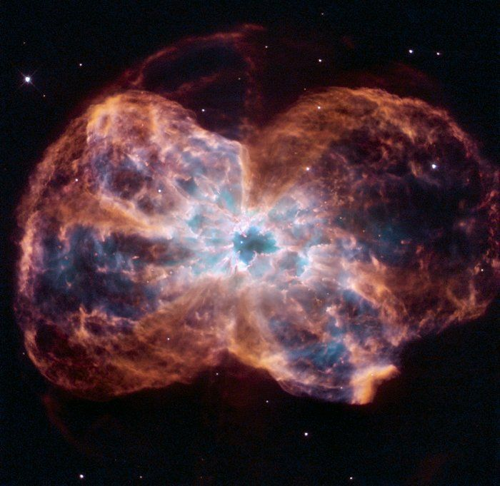 "Hubble reveals NGC 2440 This image of NGC 2440 shows the colourful ""last hurrah"" of a star like our Sun."