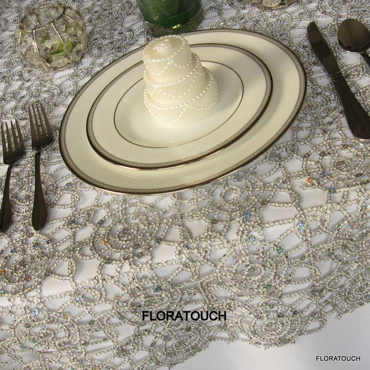 Alice Metallic Lace Table Overlay - Silver. $22.00, via Etsy.