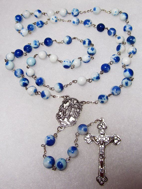 Bright blue round glass rosary beads with silver crucifix 50cm long