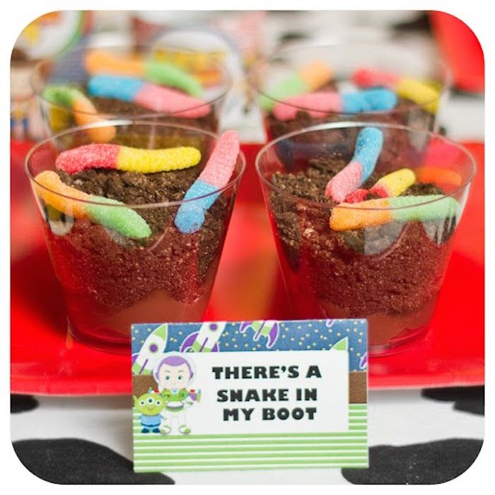 Pudding Cups from a Toy Story Birthday Party via Kara's Party Ideas   KarasPartyIdeas.com (18)