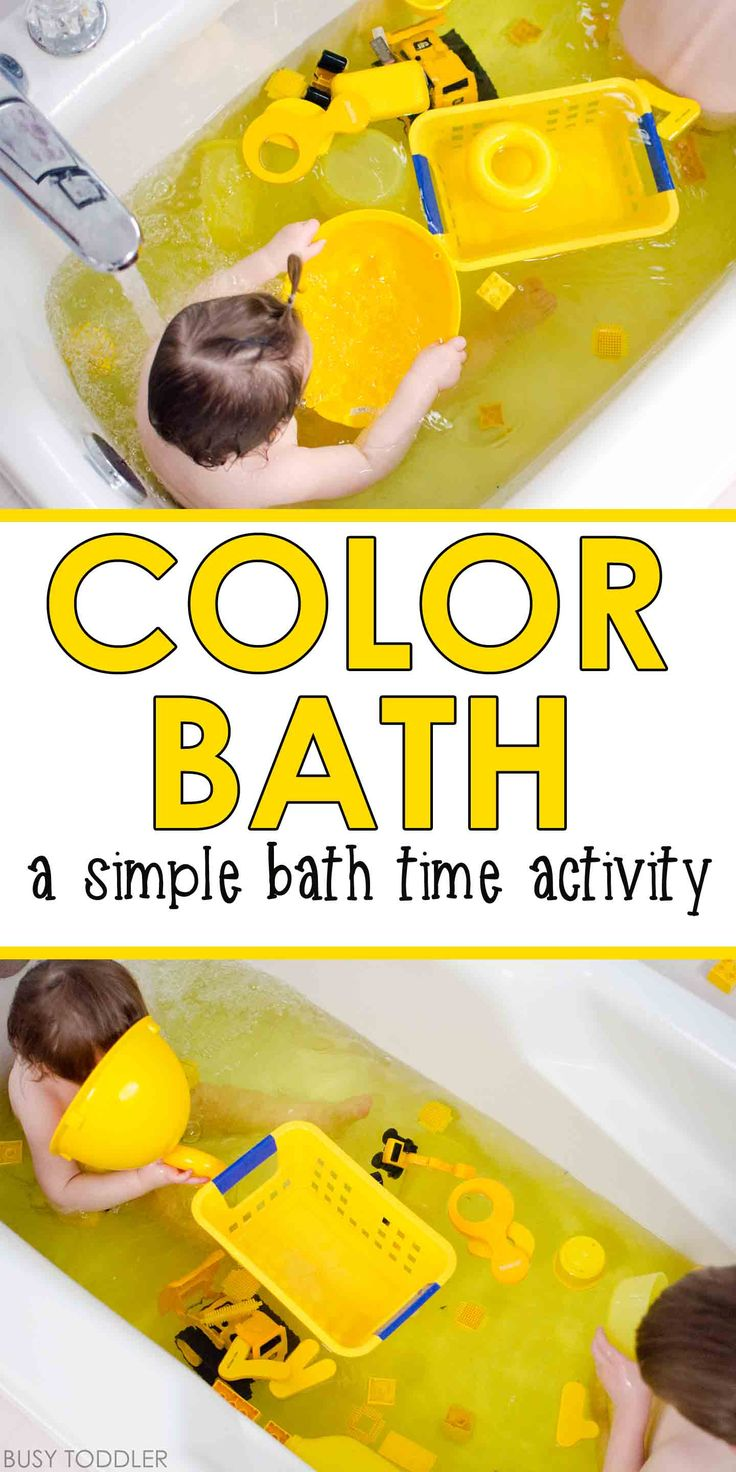 COLOR BATH: A simple bath time activity for toddlers. Toddlers and preschoolers will love this easy bath time activity. A quick and easy rainy day activity. A fun way to play in the bath tub.