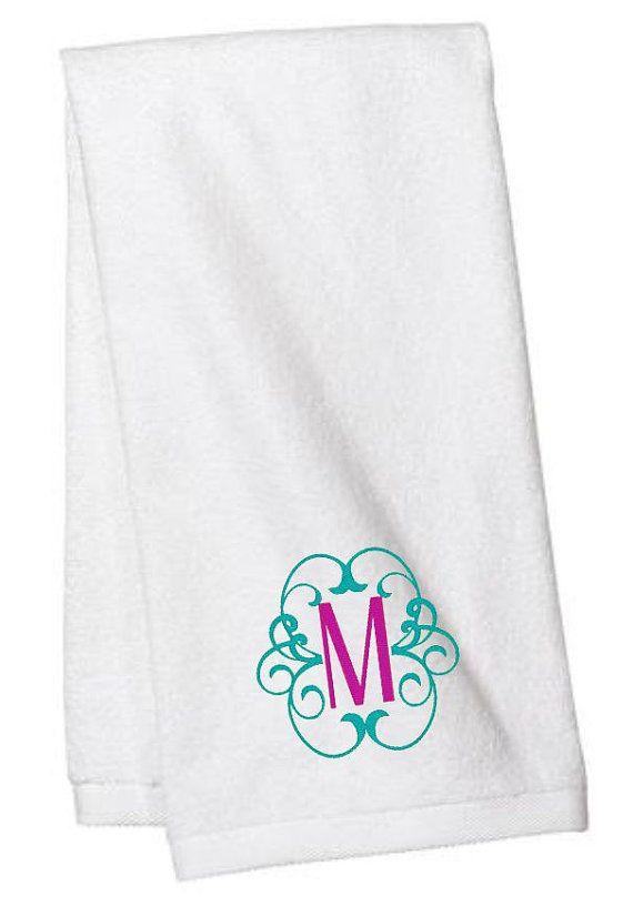 Monogrammed Hand Towel  Hand Towels  Monogrammed Towels  Scroll Monogram  Bathroom  Personalized. 1000  ideas about Monogrammed Hand Towels on Pinterest   Monogram