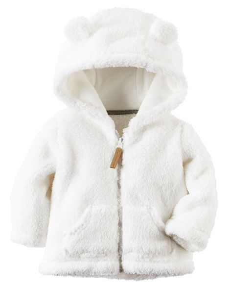 With a lined hood and cute little ears, this snuggly zip-up is perfect for layering over any outfit during colder months.