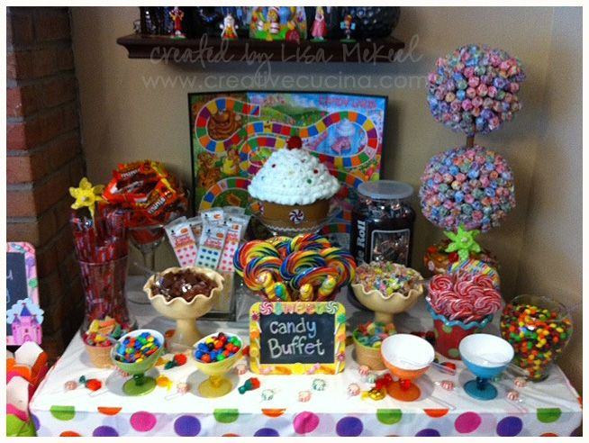 Cute candy buffet idea for the kids. I would most definitely use a twister mat as the table cloth.