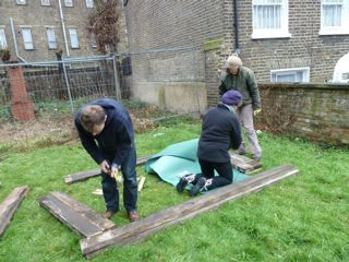 Beds being constructed