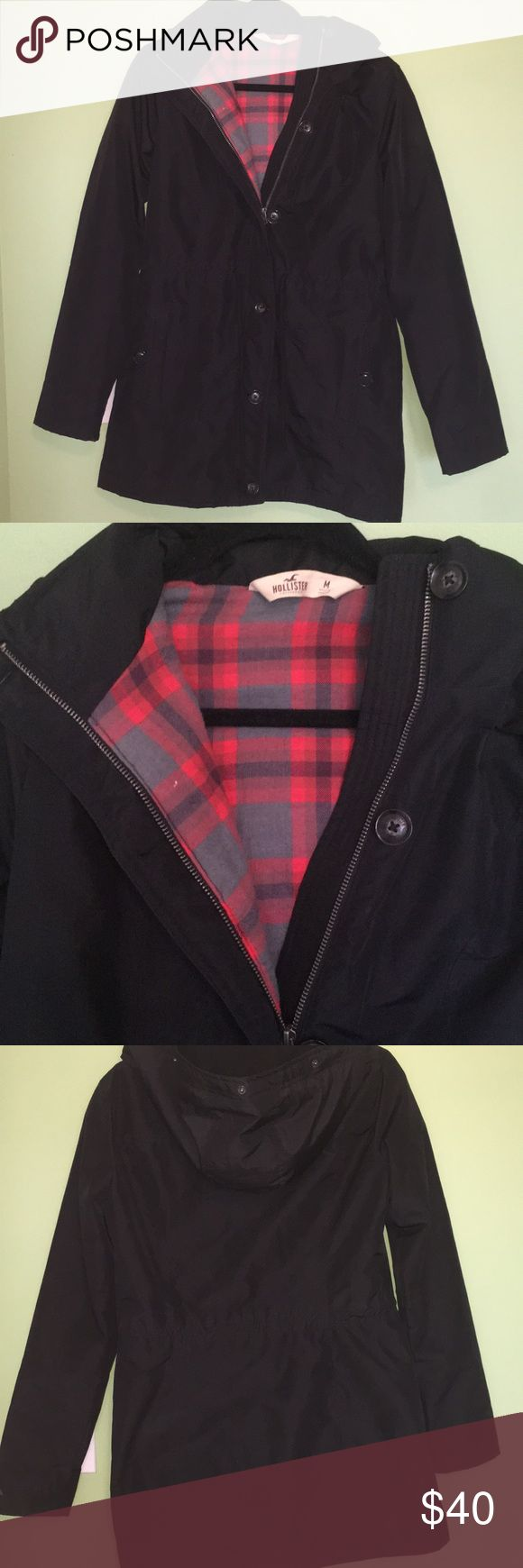 Hollister Jacket Hollister Jacket, Size Medium with plaid interior lining. Outer material similar to rain jacket material. With buttons and zipper. In great condition! Hollister Jackets & Coats