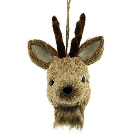 Festive 24cm Hanging Reindeer Head Ornament, Brown