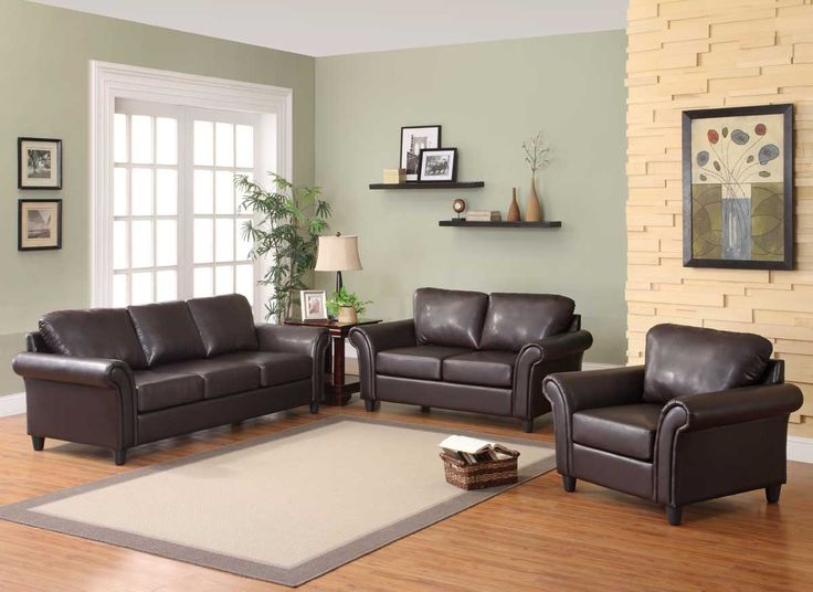 Living Room With Brown Couch Green