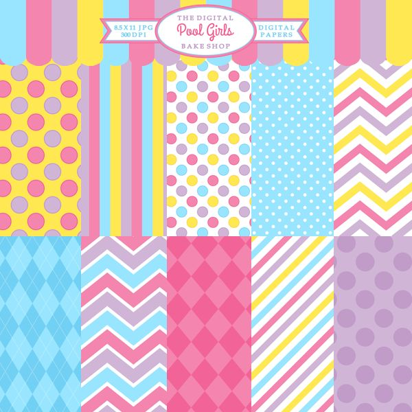 Pool Girls Papers - brightly colored papers for creating invitations, thank you cards, scrapbooking and crafts.  Pair with the matching Pool Girl Clipart.
