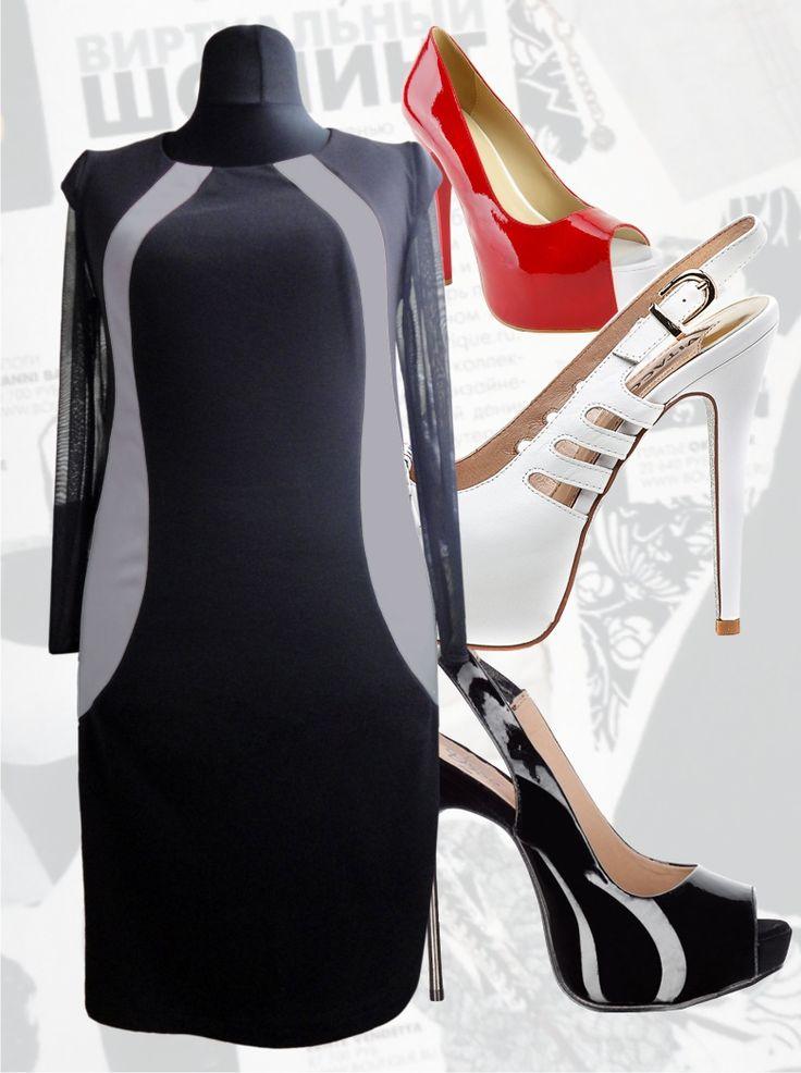 39$ Нарядное платье для полных девушек с волнообразными серыми вставками-рельефами по бокам Артикул 417, р50-64