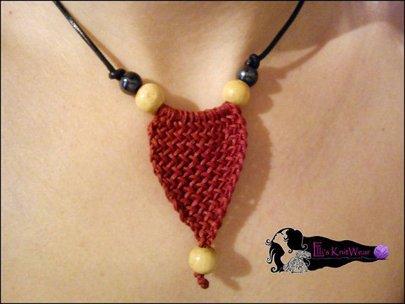 Red Crochet Necklace With Thread Wax And by EllisKnitwearShop