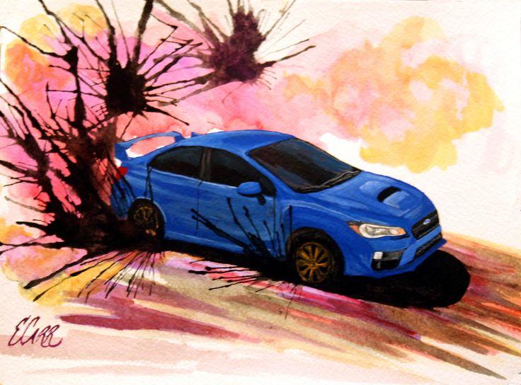 ORIGINAL Gouache 2015 Subaru WRX STi Car Drift Painting by BecauseRaceArt on Etsy https://www.etsy.com/listing/254331434/original-gouache-2015-subaru-wrx-sti-car