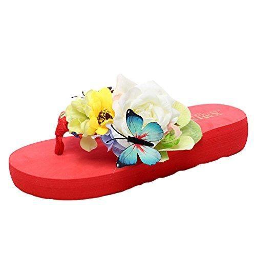 Oferta: 9.59€. Comprar Ofertas de YOUJIA Mujeres Boho Flores Chanclas Verano Playa Zapatos de cuña Plataforma Zapatillas (#1 Rojo, EU 38) barato. ¡Mira las ofertas!