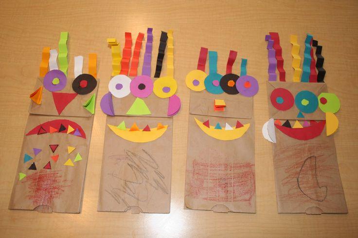 Títeres hechos con bolsas de papel. Para trabajar colores y figuras geométricas