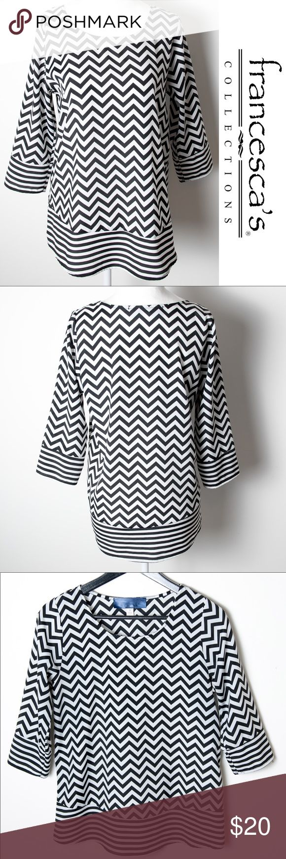 Francesca's Black White Chevron Top 3/4 Sleeve Sm Tag is worn off, but this is a Blue Rain blouse from Francesca's. 3/4 sleeve, chevron and stripe pattern in black and white. Excellent used condition. Lightweight - perfect for summer and warmer weather. 100% polyester, machine wash warm water, tumble dry low. Francesca's Collections Tops Blouses