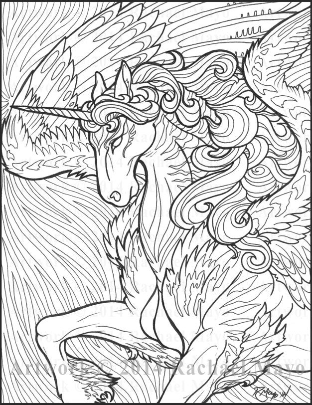 Unicorn UniPeg Pegasus Fantasy Myth Mythical Mystical Legend Wings Coloring Pages Colouring Adult Detailed Advanced Printable